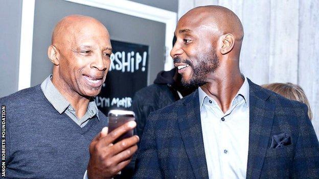 Cyrille Regis shares a joke with his nephew Jason Roberts