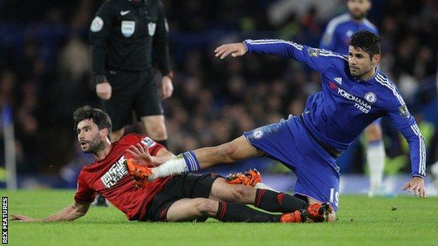 West Brom midfielder Claudio Yacob (left) and Chelsea striker Diego Costa during their side's 2-2 draw