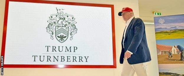 Republican Presidential Candidate Donald Trump visits his Scottish golf course Turnberry on July 30, 2015