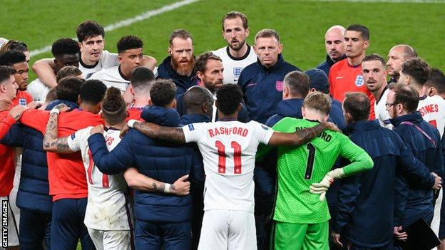 Gareth Southgate (centre) addressed his England side at Wembley during the Euro 2020 final