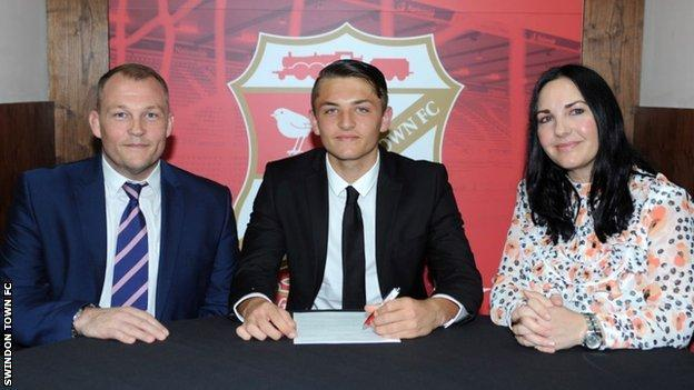 A teenage Elliott Dugan signs with Swindon Town as a youth player