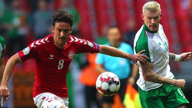 James McClean battles with Denmark's Thomas Delaney during the Euro 2020 qualifier in Copenhagen in June