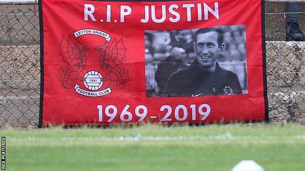 A banner in memory of Justin Edinburgh at Leyton Orient's Breyer Group Stadium