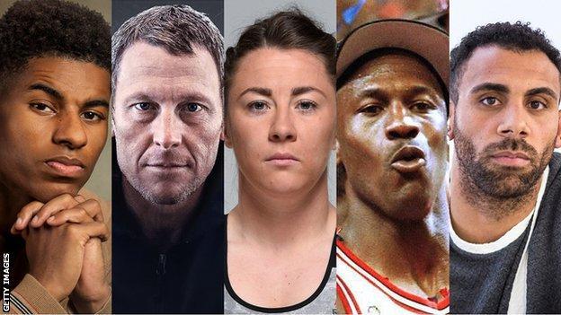 Marcus Rashford, Lance Armstrong, Molly McCann, Michael Jordan and Anton Ferdinand