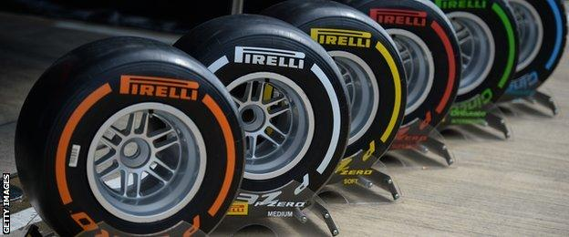 The six Pirelli tyres used for this years F1 calendar