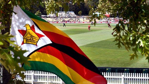 The Zimbabwe flag flies attached to a tree outside a cricket stadium