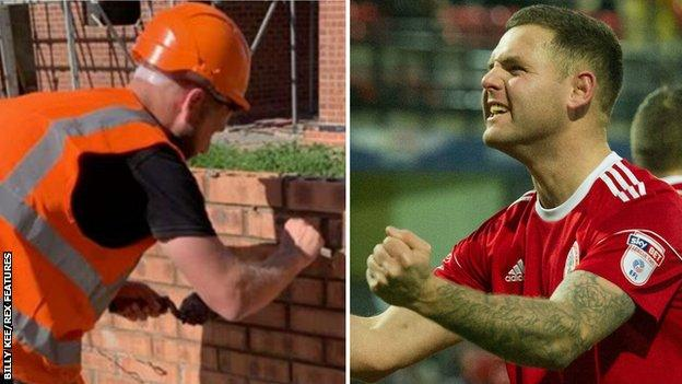 Billy Kee (left) working on a building site in 2020 and (right) scoring for Accrington Stanley in 2017