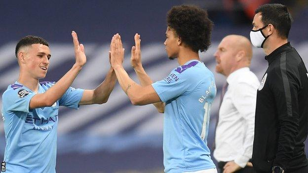 Leroy Sane replaced Phil Foden after 79 minutes