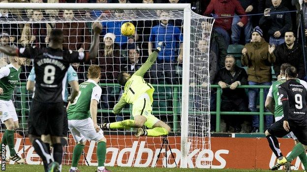 Hibs goalkeeper Ofir Marciano made a series of excellent saves to deny Dunfermline