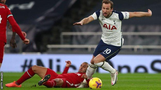Tottenham boss Jose Mourinho was unhappy after Spurs striker Harry Kane was injured in this challenge by Thiago on 28 January