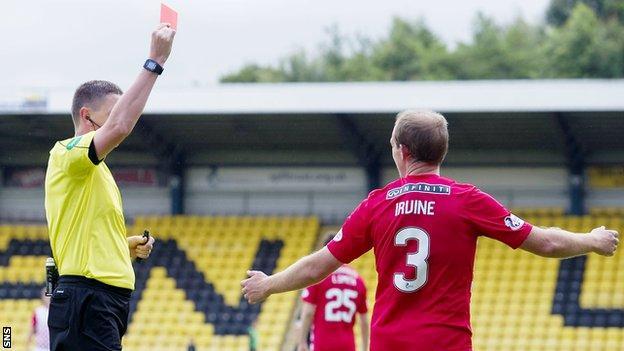 Gary Irvine is sent off