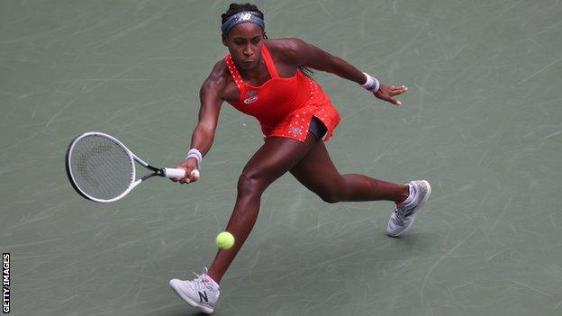 Coco Gauff prepares to hit a forehand