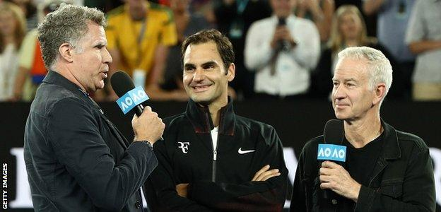 Will Ferrell interviewed Roger Federer after the Swiss' win