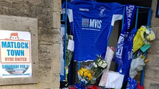 Tributes at Matlock Town for Jordan Sinnott