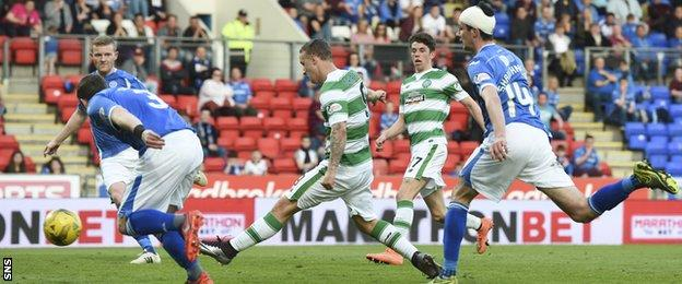 Leigh Griffiths scores for Celtic against St Johnstone