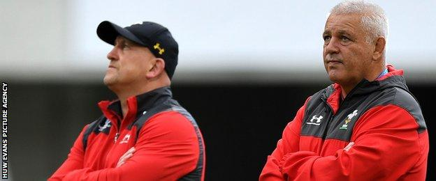 Shaun Edwards and Warren Gatland during a Wales training session
