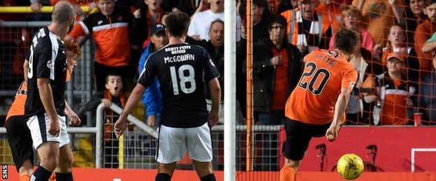 Blair Spittal scores for Dundee United against Dundee