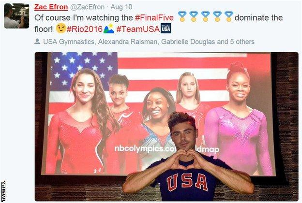 Biles has admitted she has a crush on actor Zac Efron