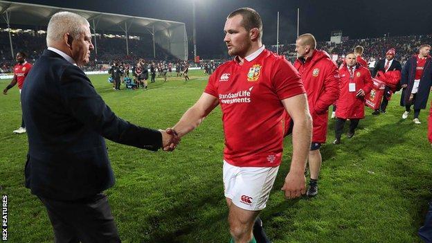 Lions coach Warren Gatland congratulates Wales hooker Ken Owens