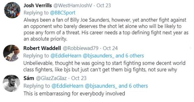 """Fans on Twitter criticise Billy Joe Saunders for fighting Martin Murray next, with one fan saying """"it's embarrassing for everyone involved."""""""