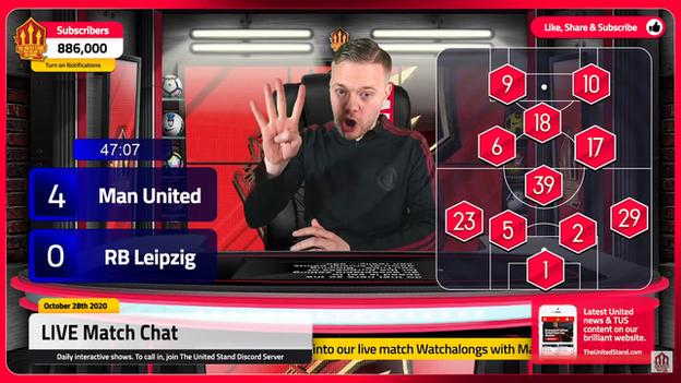 Mark Goldbridge during his live watchalong of Manchester United 5-0 RB Leipzig