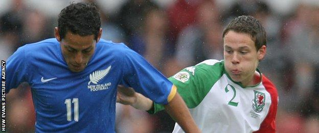 Chris Gunter (right) on his Wales debut in a 2-2 draw with New Zealand in 2007