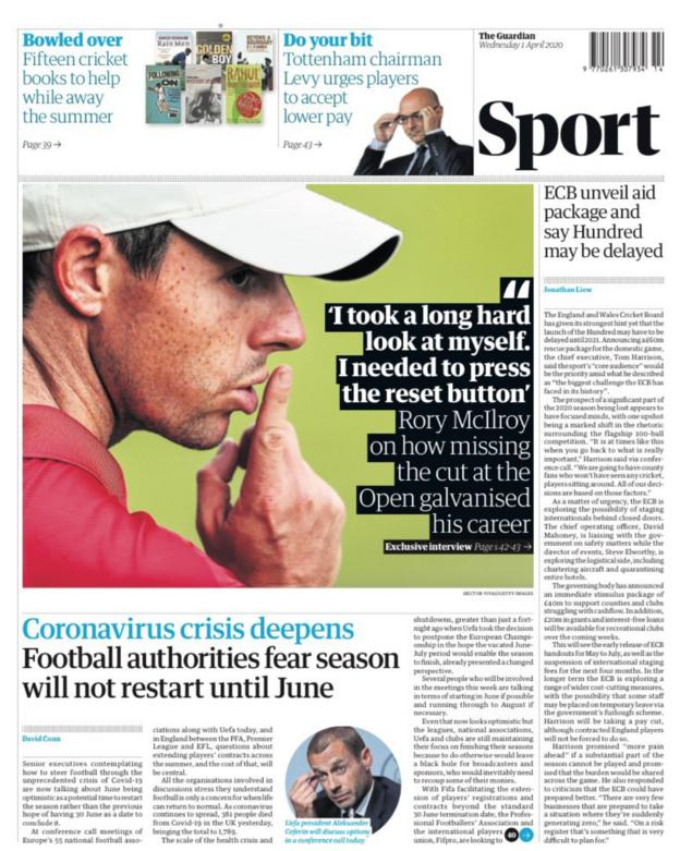 Guardian back page for Wednesday, 1 April 2020