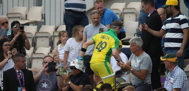 Steve Smith walks off after scoring a hundred against England