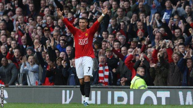 Cristiano Ronaldo celebrates at Old Trafford in 2008