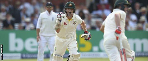 Australia's Chris Rogers celebrates a hundred at Lord's