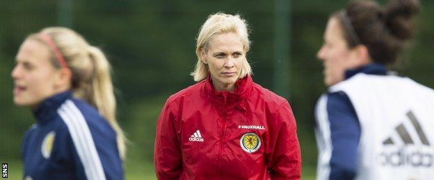 Scotland head coach Shelley Kerr oversees a training session