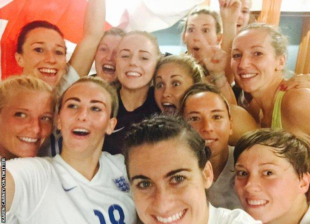 Karen Carney tweets a picture from the England dressing room after the win over Canada
