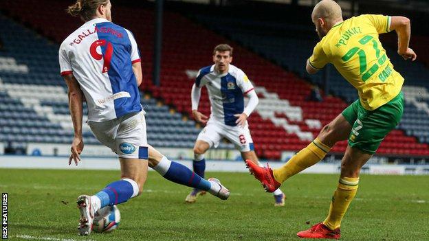 Norwich City striker Teemu Pukki scores his first goal against Blackburn