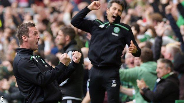 Celtic manager Ronny Deila and assistant John Collins celebrate
