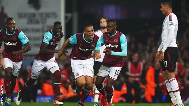 West Ham celebrate a goal against Manchester United