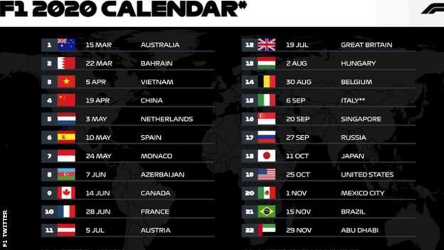 Formula 1 calendar 2020 season