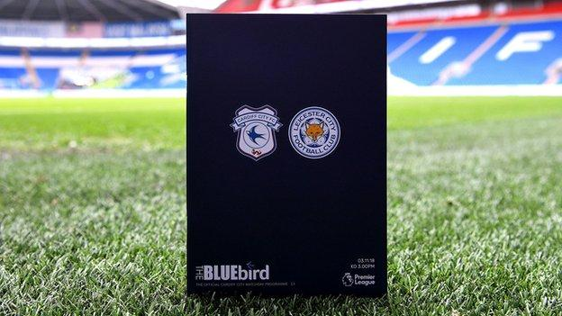 The match programme for Cardiff v Leicester