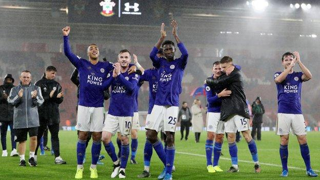 Leicester players celebrate after their record-equalling 9-0 win at Southampton
