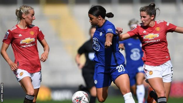 Chelsea's Sam Kerr opened the scoring when they faced Manchester United in September, while Leah Galton levelled for the Reds