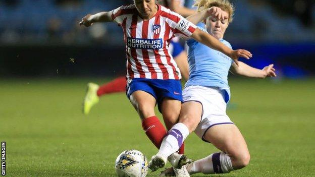 Aoife Mannion (right) injured her ACL playing for Manchester City against Atletico Madrid in the Champions League