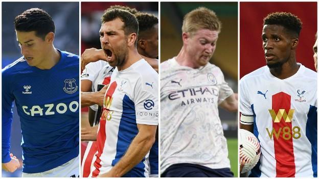 James Rodriguez (Everton), James McArthur (Crystal Palace), Kevin de Bruyne (Man City) Wilfried Zaha (Crystal Palace)