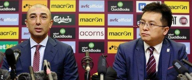New Aston Villa manager Roberto Di Matteo and owner Tony Xia held their first press conference at Villa Park