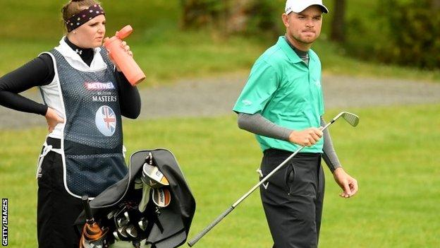 Dale Whitnell and caddie at Close House