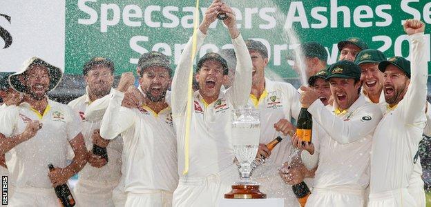 Australia lift the Ashes urn