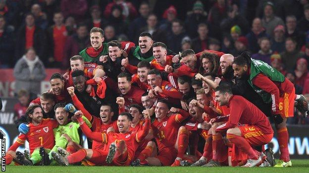 Wales players celebrate qualifying for Euro 2020 with victory over Hungary on Tuesday