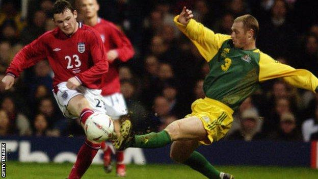 Wayne Rooney playing for England against Australia in 2003