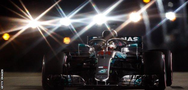 Lewis Hamilton qualifies on pole position for the Singapore Grand Prix