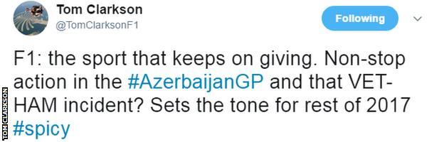 Tom Clarkson's tweet