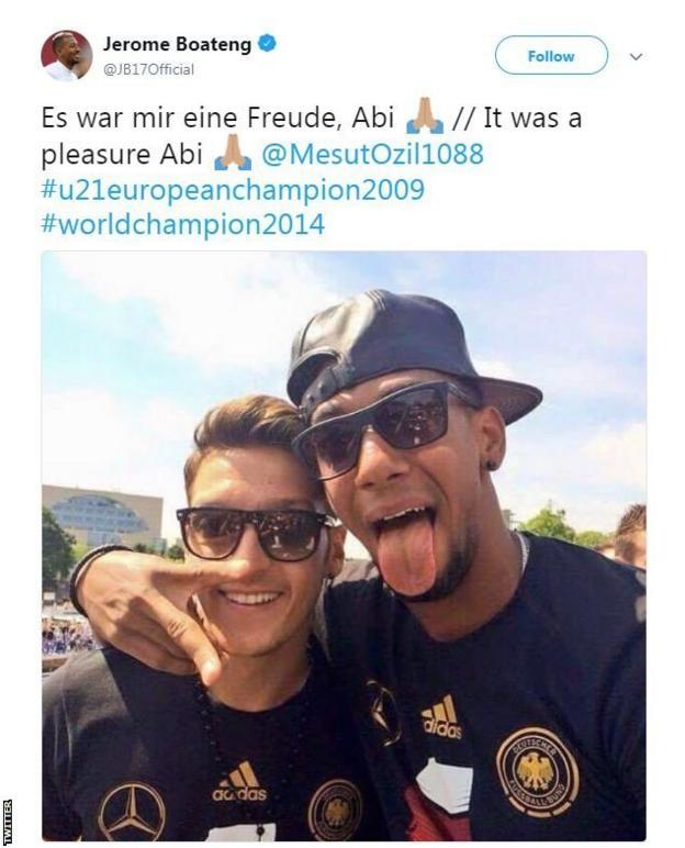 "Germany teammate Jerome Boateng responds on Twitter by saying it was a ""pleasure"""