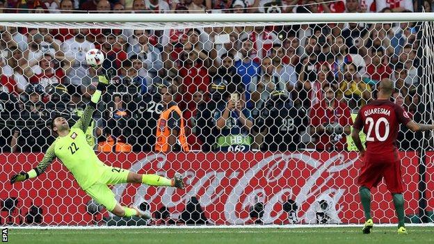 Ricardo Quaresma scores from the spot